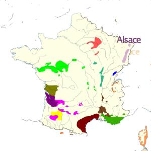 Carte de france des vins Alsace