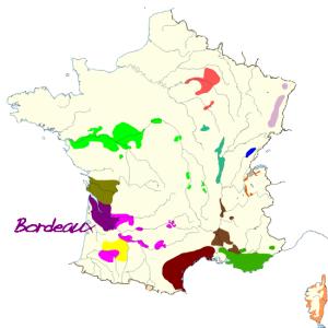 Carte de france des vins de bordeaux