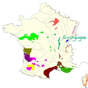 Carte de france des vins de bourgogne